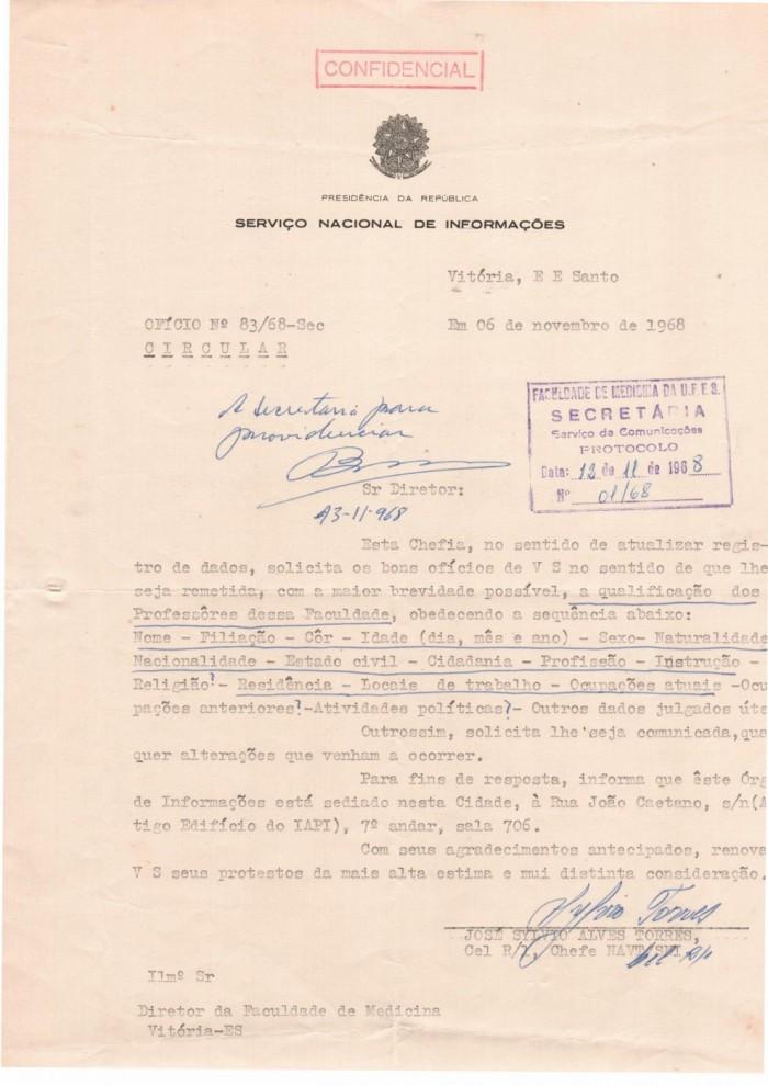 Documento confidencial de 1968 confirma endereço sede da SNI em Vitória