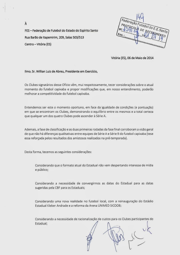 Documento dos clubes pedindo alteração no regulamento do Capixabão 2015