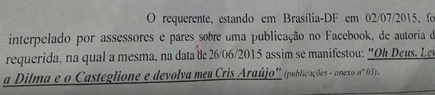 """Juliana Louzada foi intimada na Justiça após pedir no Facebook para """"Deus levar a Dilma e o Casteglione"""""""
