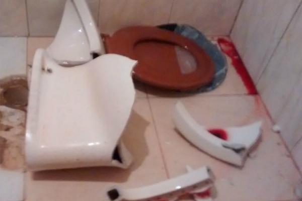 image No banheiro brincando com as escovas de dente
