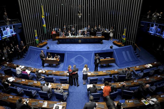 Plenário do Senado Federal durante discursos dos senadores que antecedem a votação do impeachment da presidente Dilma Rousseff. Crédito: Pedro França / Agência Senado
