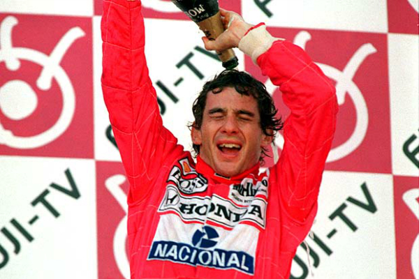 Ayrton Senna comemora tricampeonato mundial em 1991. Crédito: Getty Images