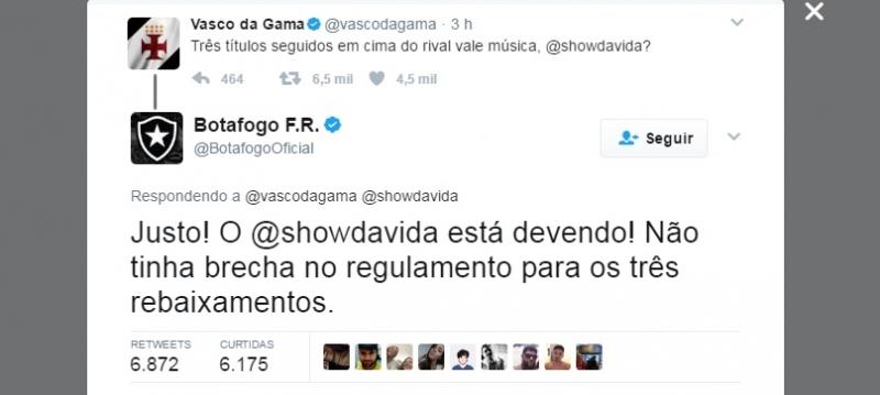 Vasco provoca Botafogo no Twitter após título e adversário rebate ... 0280f64033306