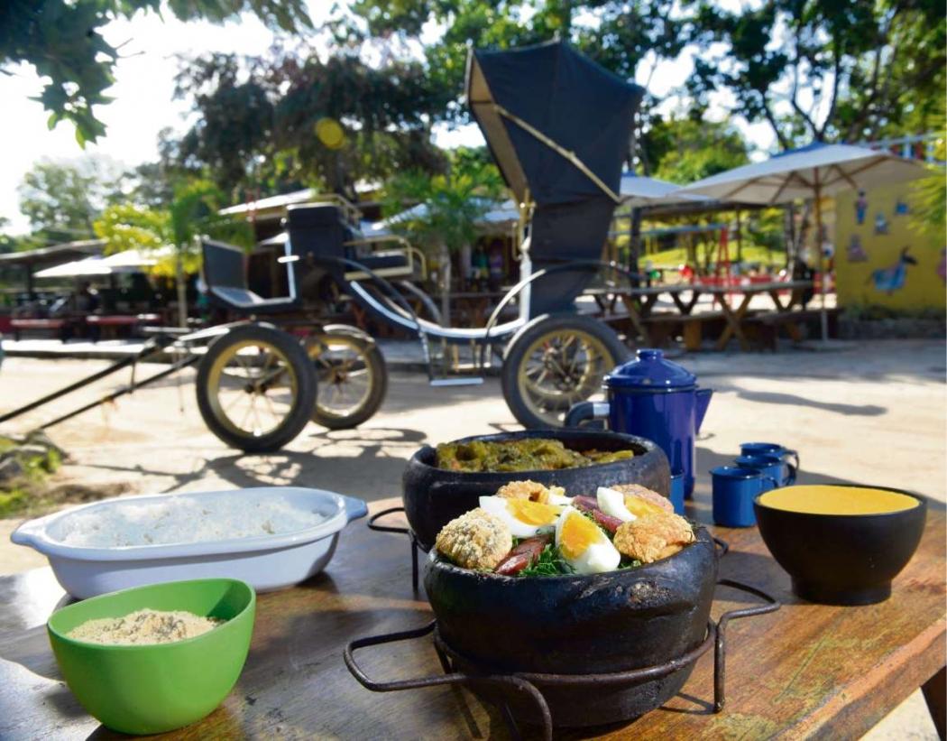 Agroturismo canela-verde na fazenda Rico Caipira e sua galinha com quiabo. Crédito: Edson Chagas
