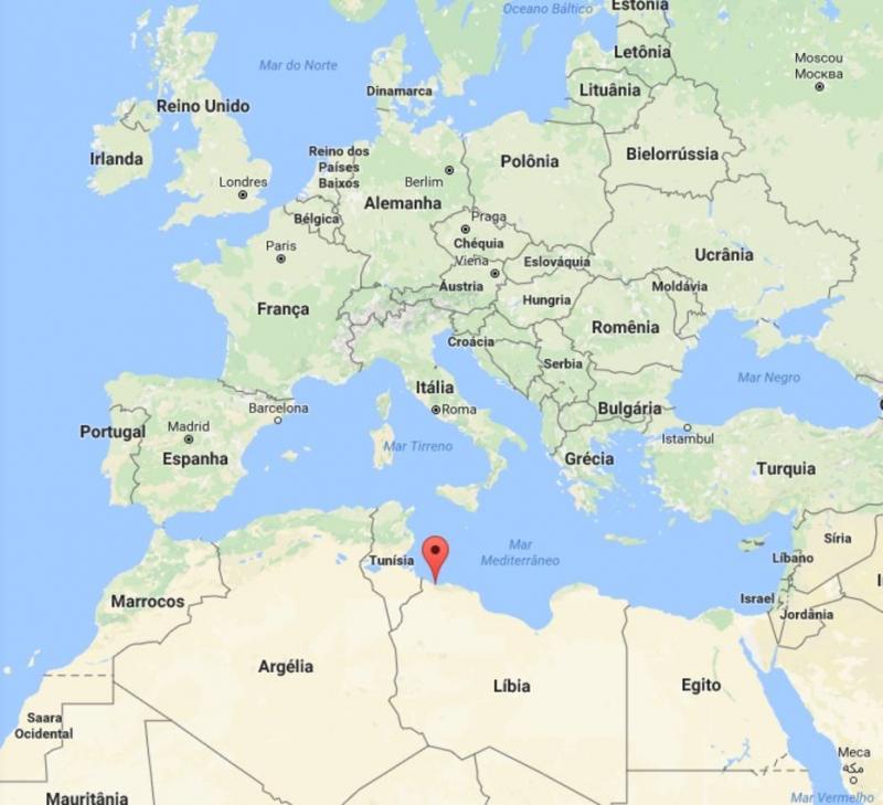 No destaque, a cidade de Sabratha, no norte da Líbia . Crédito: Maps/Reprodução
