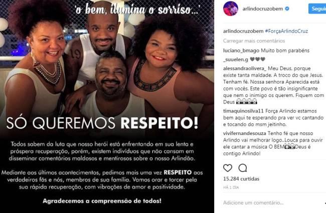 Foto de Arlindo Cruz internado vaza e família pede investigação
