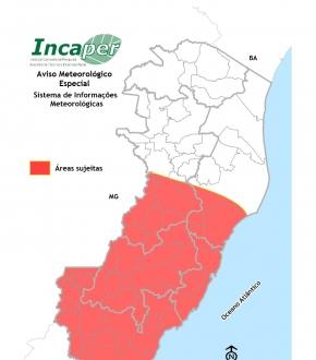 Mapa mostra locais mais atingidos pelo alerta do Incaper