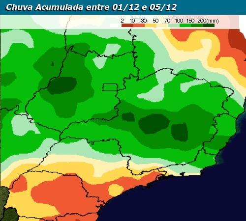 Chuva estimada para o Sudeste do Brasil de 1 a 5 de dezembro de 2017