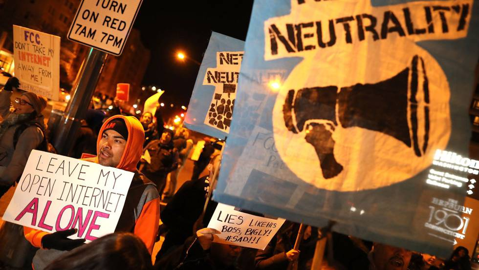 Protestos contra o fim da neutralidade de rede nos EUA. Crédito: Reprodução/Web