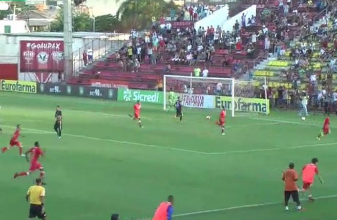 Audax marcou o gol de pênalti aos 51 minutos do 2º tempo e venceu o Rio Branco. Crédito: Divulgação/FPF