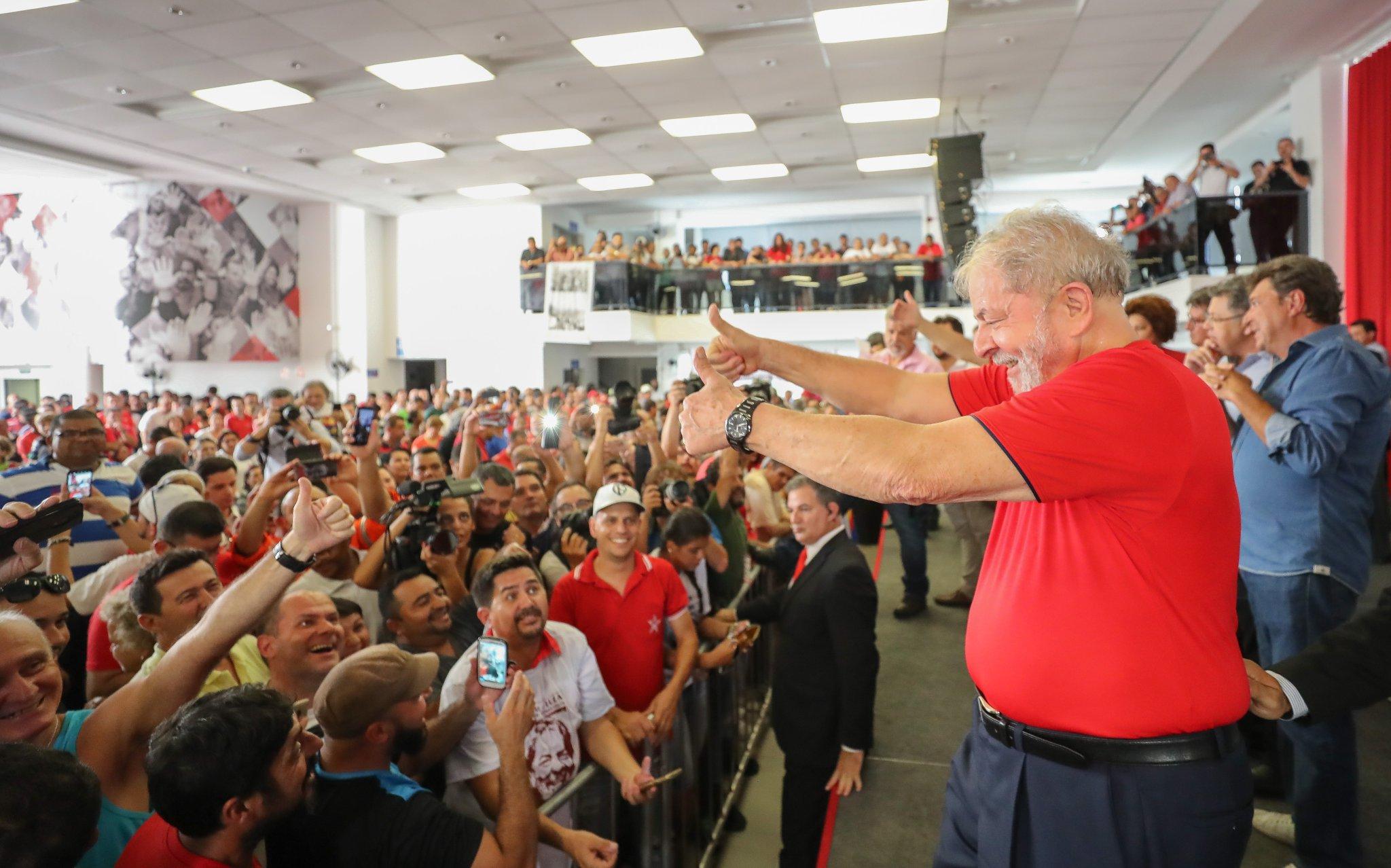 Lula no sindicato dos metalúrgicos, em São Paulo, onde acompanhou julgamento no TRF-4. Crédito: Ricardo Stuckert / Divulgação