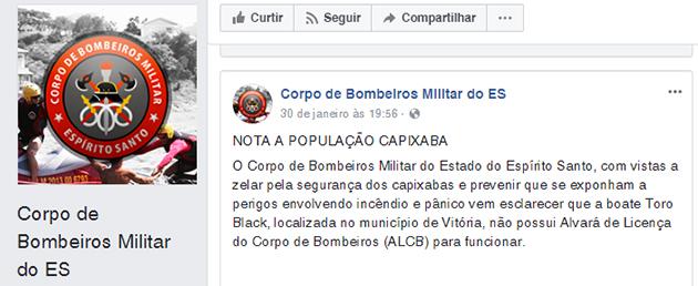 Trecho do alerta feito pelo Corpo de Bombeiros no Facebook. Crédito: Facebook
