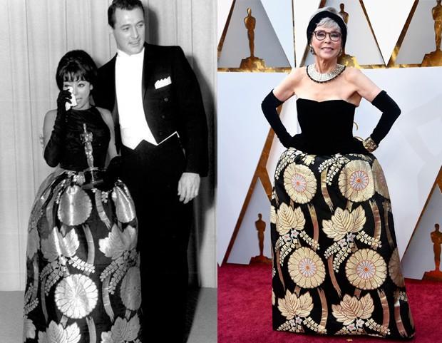 Rita Moreno repetiu vestido de 56 anos atrás na cerimônia do Oscar 2018. Crédito: Reprodução/Pinterest Donna