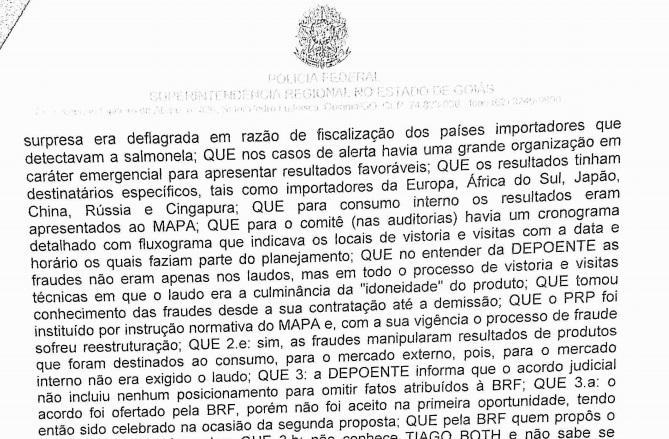 Parte do depoimento de Adriana Carvalho, ex-funcionária da BRF. Crédito: Polícia Federal