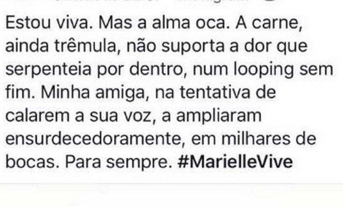 Assessora fez uma homenagem à Marielle nas redes sociais. Crédito: Reprodução