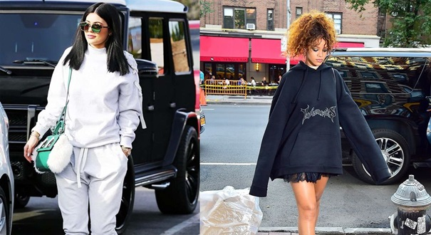 Rihanna e Kylie Jenner são adeptas da tendência . Crédito: Pinterest