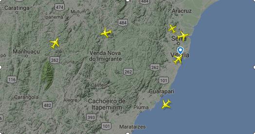 Espaço aéreo de Vitória. Crédito: Reprodução / Flight Radar