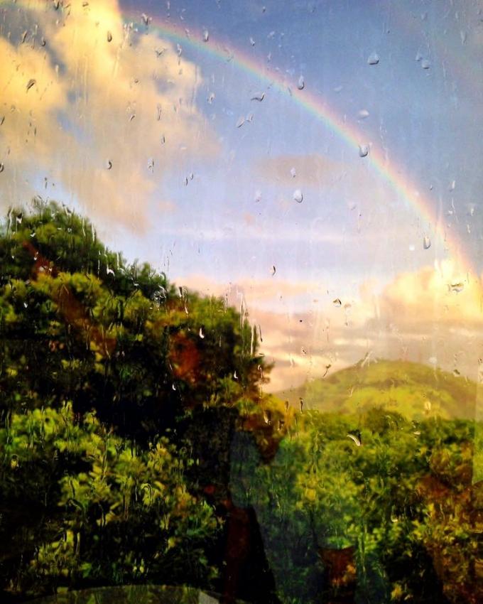 Arco-íris visto do bairro Bento Ferreira, em Vitória. Crédito: Marlon Max