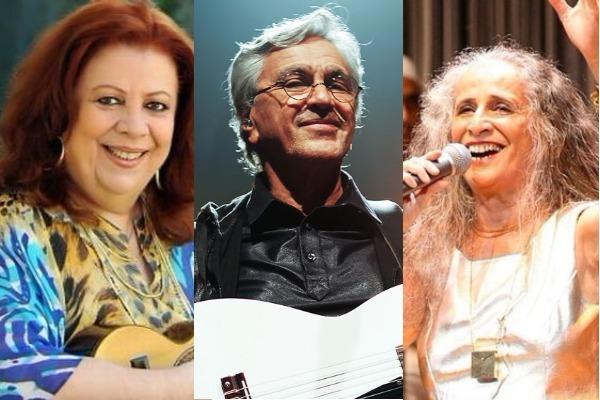 Beth Carvalho, Caetano e Bethânia estão cantaram obras de Dona Ivone. Crédito: Montagem Gazeta Online