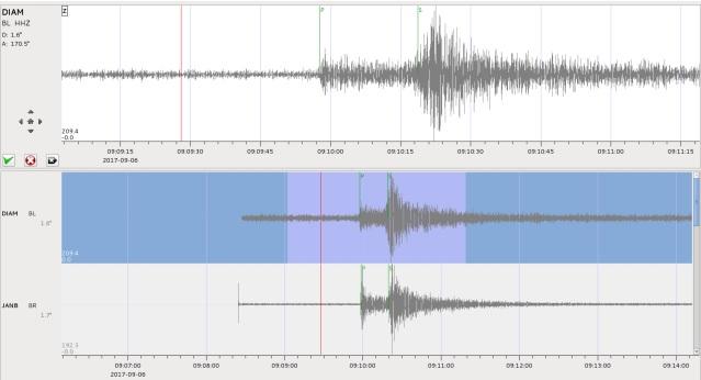 Figura que exemplifica como funciona a onda gerada em um sismógrafo durante um tremor de terra. Crédito: UnB