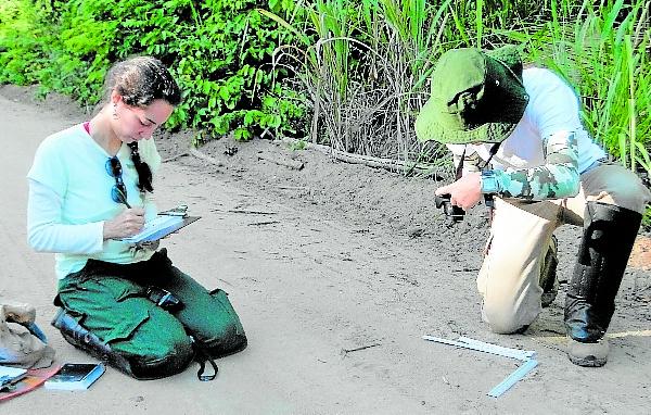 Pesquisadoras fotografando as pegadas das antas. Crédito: Projeto Pró-tapir
