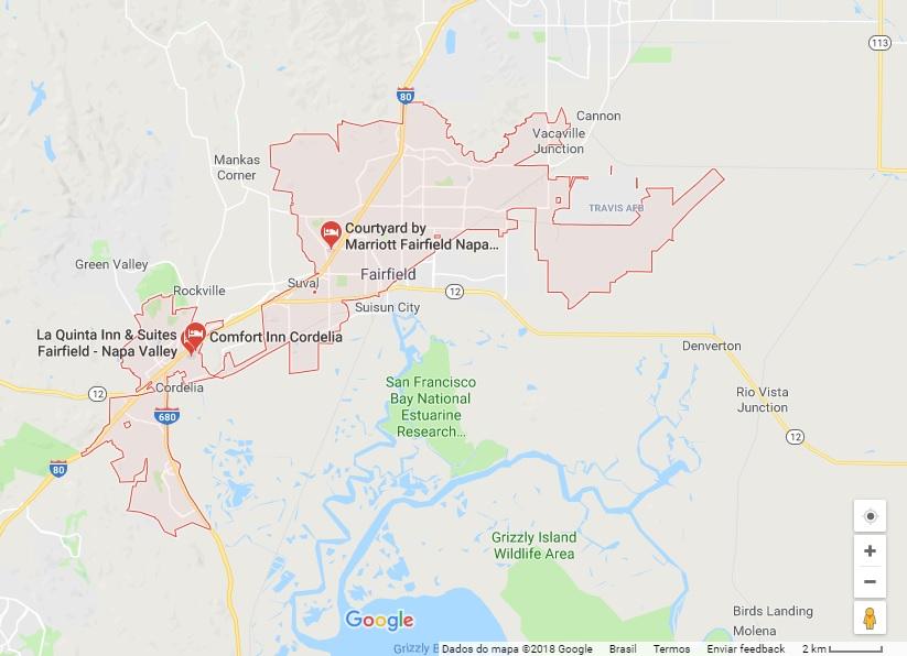 Fairfield, cidade no norte da Califórnia. Crédito:  Google Maps