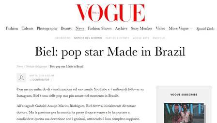 Matéria sobre Biel na Vogue Itália foi retirada do ar após reclamações de internautas brasileiros. Crédito: Reprodução