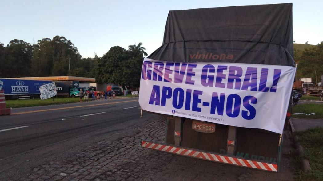 Protesto de caminhoneiros em Viana no dia 22/05/2018. Crédito: Caíque Verli