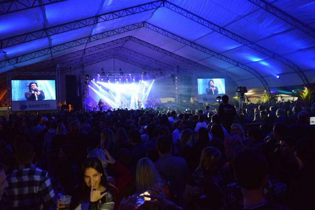 Show de Paulo Ricardo durante o 2º Festival de Inverno de Guaçuí. Crédito: LEANDRO FIDELIS/ASSCOM FIG