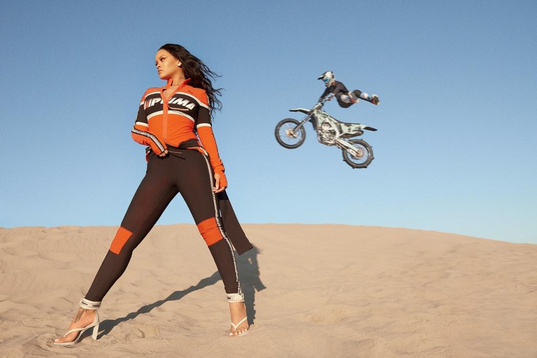 Rihanna em ensaio para sua parceria em roupas com a Puma. Crédito: Divulgação