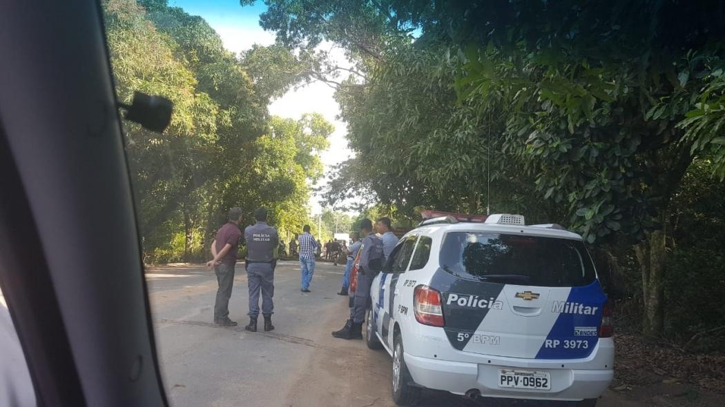 Protesto de índios guaranis bloqueiam parte da ES 010 em Aracruz. Crédito: Internauta/Gazeta Online