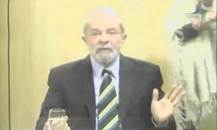 Lula em depoimento ao juiz Marcelo Bretas por videoconferência. Crédito: Reprodução