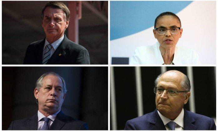 Jair Bolsonaro, Marina Silva, Ciro Gomes e Geraldo Alckmin . Crédito: Reprodução