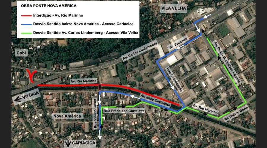 PMVV interdita vias para obras na Ponte de Nova América. Crédito: Divulgação/PMVV