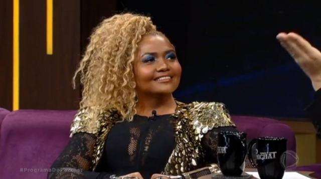 A cantora Gaby Amarantos durante sua participação no Programa do Porchat. Crédito: Reprodução / RecordTV