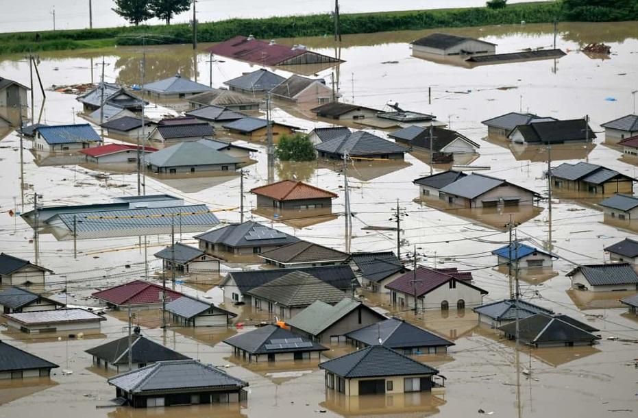 Tempestades no Japão causaram alagamentos e inundações nos últimos dias. Crédito: Reprodução | Twitter