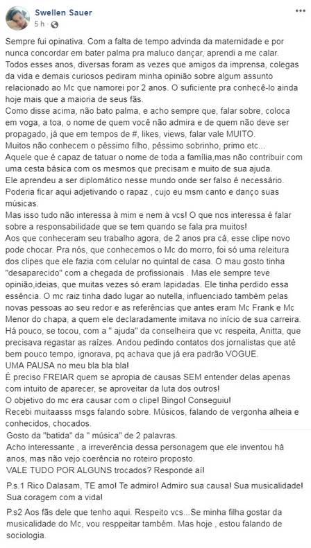 """Ex-namorada critica Nego do Borel: """"Ser falso é necessário"""""""