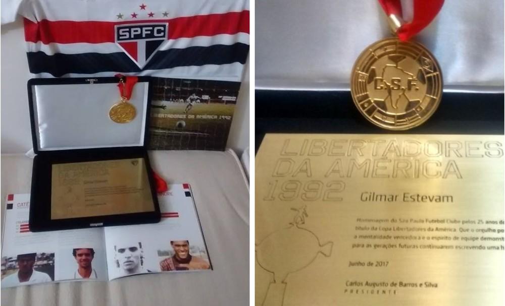 Gilmar Estevam mostra com orgulho as homenagens que os atletas campeões em 1992 receberam do São Paulo  . Crédito: Acervo pessoal