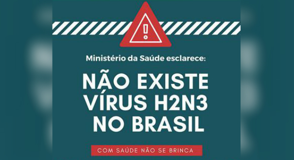 Post do Ministério da Saúde no Facebook em que desmente a existência do subtipo H2N3 do vírus influenza no Brasil. Crédito: Ministério da Saúde