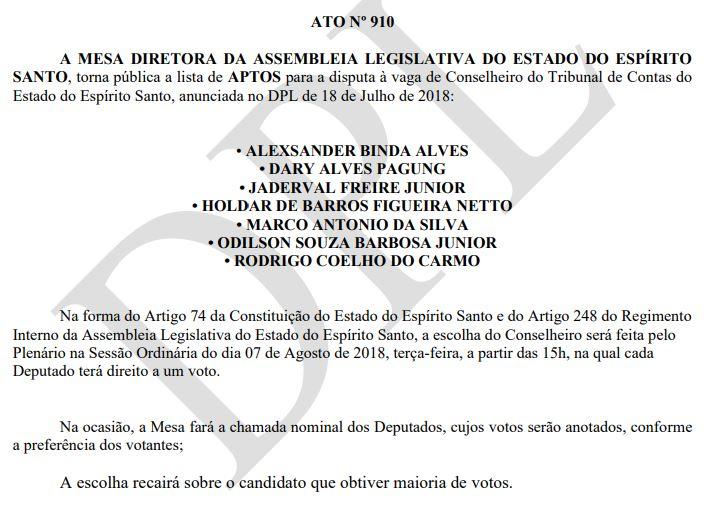 Ato da Assembleia que marca sessão para escolha de conselheiro do Tribunal de Contas do Estado. Crédito: Reprodução
