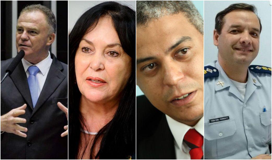 Renato Casagrande (PSB), Rose de Freitas (Podemos), André Moreira (PSOL) e Carlos Alberto Foresti (PSL). Crédito: Divulgação