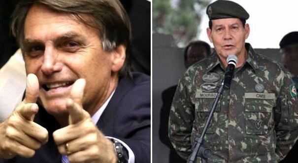 Mourão vai ser o vice de Jair Bolsonaro. Crédito: Reprodução