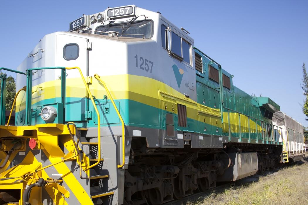Trem da Estrada de Ferro Vitória-Minas (EFVM). Crédito: Agência Vale/Divulgação