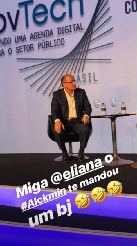 Angélica se divertiu com a gafe cometida por Geraldo Alckmin e mandou recado para Eliana . Crédito: Reprodução/Instagram @angelicaksy