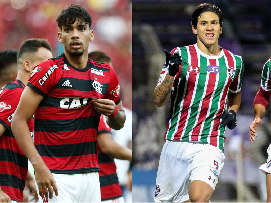 Lucas Paquetá, meia do Flamengo; e Pedro, atacante do Fluminense. Crédito: Gilvan de Souza/Flamengo e Lucas Merçom/Fluminense