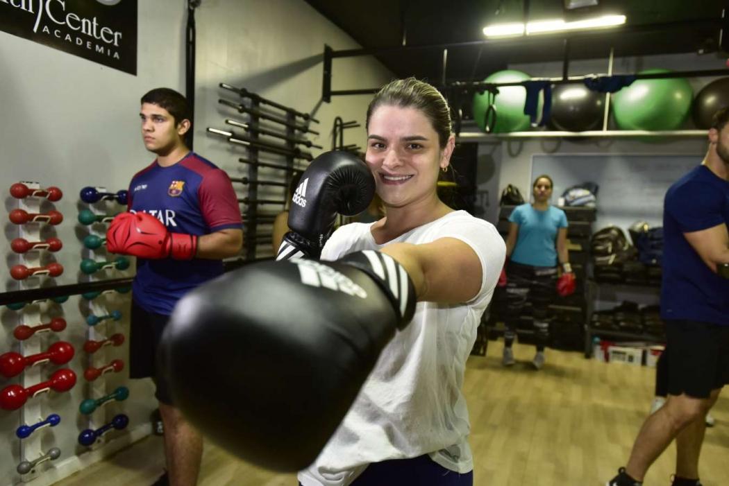 A advogada Melissa Ewald entrou no boxe por conta da autodefesa. Crédito: Marcelo Prest