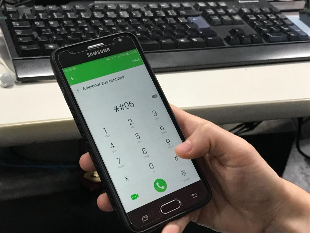 Para saber o IMEI do celular, basta digitar *ENTITY_sharp_ENTITY06ENTITY_sharp_ENTITY e o número aparecerá na tela do aparelho. O IMEI possui 15 dígitos. Crédito: Rita Benezath