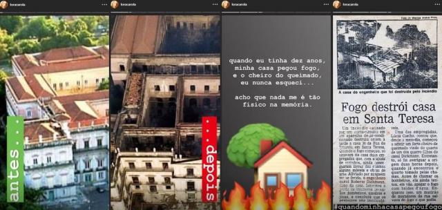 Stories publicados por Carolina Dieckmann relembrando incêndio em sua casa  . Crédito: Instagram / @loracarola
