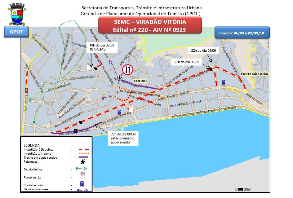 Avenida Jerônimo Monteiro ficará interditada para a realização do Viradão Vitória (CLIQUE PARA AMPLIAR). Crédito: Prefeitura de Vitória
