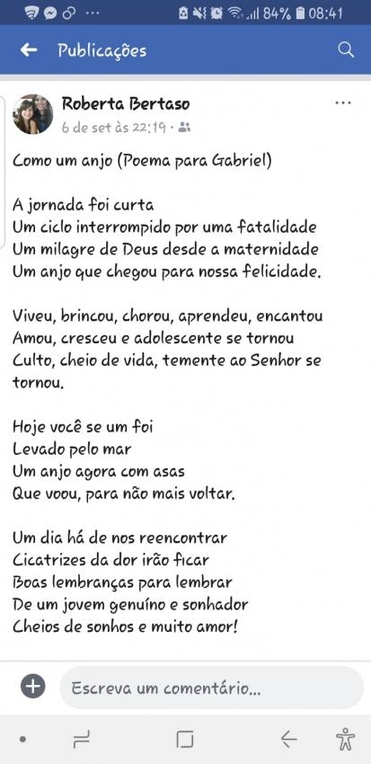 A tia de Gabriel Sepulchro fez um poema em homenagem ao sobrinho. Crédito: Divulgação/Facebook